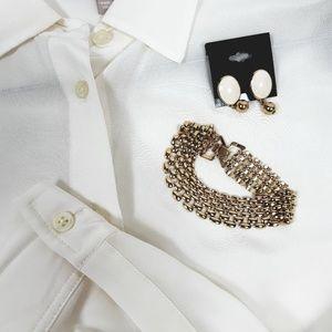 Banana Republic Blouse W/ Bracelet & Earrings